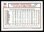 1992 Topps #80  David Justice  Back Thumbnail