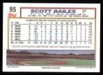 1992 Topps #95  Scott Bailes  Back Thumbnail