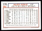 1992 Topps #170  Alex Cole  Back Thumbnail