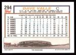 1992 Topps #294  Dave Valle  Back Thumbnail