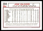 1992 Topps #304  Joe Oliver  Back Thumbnail