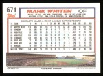 1992 Topps #671  Mark Whiten  Back Thumbnail