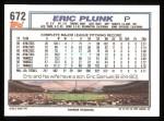 1992 Topps #672  Eric Plunk  Back Thumbnail