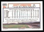 1992 Topps #685  Scott Livingstone  Back Thumbnail