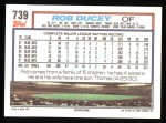 1992 Topps #739  Rob Ducey  Back Thumbnail