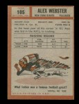 1962 Topps #105  Alex Webster  Back Thumbnail