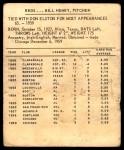 1960 Kahn's  Bill Henry  Back Thumbnail
