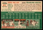 1954 Topps #61  Bob Cain  Back Thumbnail