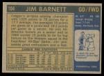 1971 Topps #104  Jim Barnett  Back Thumbnail
