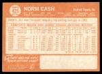 1964 Topps #425  Norm Cash  Back Thumbnail