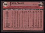 1989 Topps #410  Jack Clark  Back Thumbnail