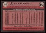 1989 Topps #770  Alan Trammell  Back Thumbnail