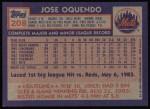 1984 Topps #208  Jose Oquendo  Back Thumbnail