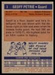 1972 Topps #3  Geoff Petrie   Back Thumbnail