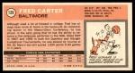 1970 Topps #129  Fred Carter   Back Thumbnail