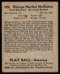 1939 Play Ball #122  George McQuinn  Back Thumbnail