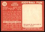1958 Topps #13  Jim David  Back Thumbnail