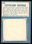 1961 Topps #76   Browns Team Back Thumbnail