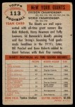 1956 Topps #113   Giants Team Back Thumbnail