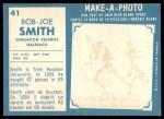 1961 Topps CFL #41  Joe Bob Smith  Back Thumbnail
