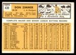 1963 Topps #439 TCH Don Zimmer  Back Thumbnail