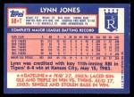 1984 Topps Traded #58  Lynn Jones  Back Thumbnail