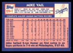 1984 Topps Traded #124  Mike Vail  Back Thumbnail