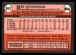 1989 Topps Traded #98 T Rey Quinones  Back Thumbnail