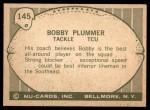 1961 Nu-Card #145  Bobby Plummer  Back Thumbnail