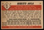 1953 Bowman #29  Bobby Avila  Back Thumbnail