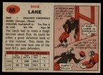 1957 Topps #85  Dick Lane  Back Thumbnail