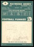 1960 Topps #4  Ray Berry  Back Thumbnail