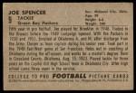 1952 Bowman Large #9  Joe Spencer  Back Thumbnail