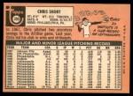 1969 Topps #395  Chris Short  Back Thumbnail