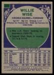1975 Topps #255  Willie Wise  Back Thumbnail