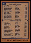 1978 Topps #203   -  George Foster / Larry Hisle RBI Leaders   Back Thumbnail