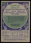 1975 Topps #194  Charles Dudley  Back Thumbnail