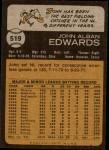 1973 Topps #519  Johnny Edwards  Back Thumbnail