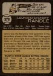 1973 Topps #378  Len Randle  Back Thumbnail