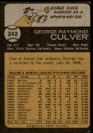 1973 Topps #242  George Culver  Back Thumbnail