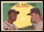 1959 Topps #212   -  Hank Aaron / Eddie Mathews Fence Busters Front Thumbnail