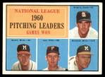 1961 Topps #47 BAR  -  Warren Spahn / Ernie Broglio / Lew Burdette / Vern Law NL Pitching Leaders Front Thumbnail