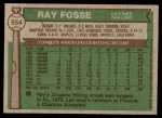 1976 Topps #554  Ray Fosse  Back Thumbnail