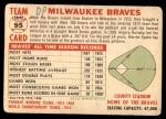 1956 Topps #95 D55  Braves Team Back Thumbnail