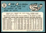 1965 Topps #180  Bob Allison  Back Thumbnail