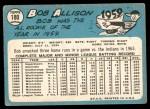 1965 Topps #180  Bob Allison  Back Thumbnail