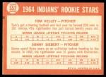 1964 Topps #552   -  Sonny Siebert / Tom Kelley Indians Rookies Back Thumbnail
