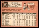 1969 Topps #134  Jim Weaver  Back Thumbnail