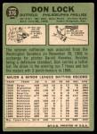 1967 Topps #376  Don Lock  Back Thumbnail