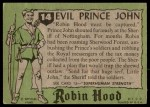 1957 Topps Robin Hood #14   Evil Prince John Back Thumbnail
